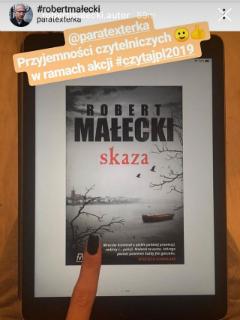 """autor wspierający akcję #czytajpl2019, """"Skaza"""" Robert Małecki, fot. paratexterka ©"""