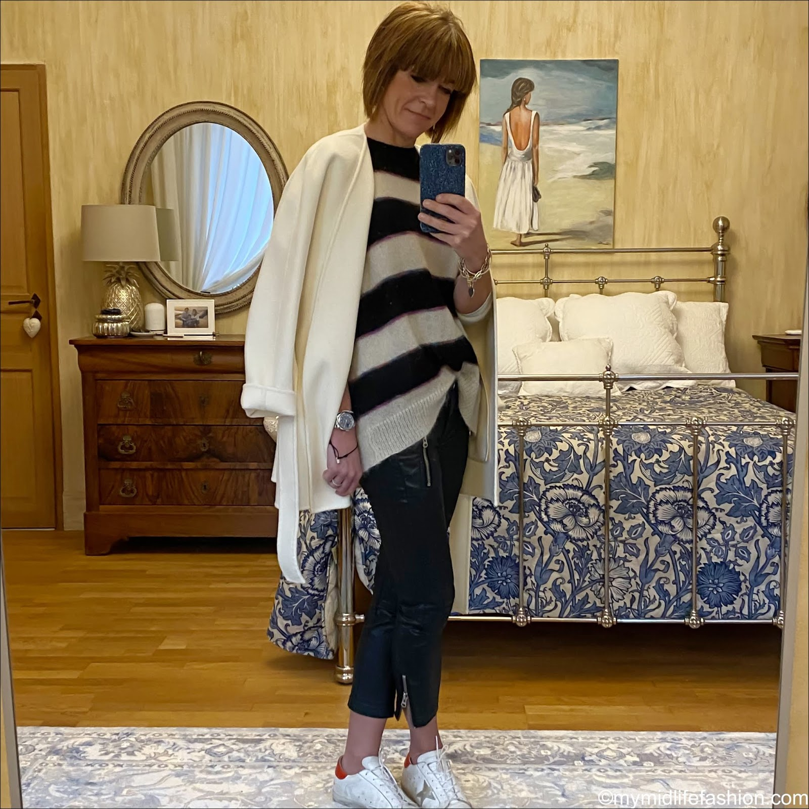 my midlife fashion, jigsaw double face wrap coat, Isabel Marant Etoile stripe mohair jumper, Isabel Marant Etoile pour hm biker trousers, golden goose superstar low top leather trainers