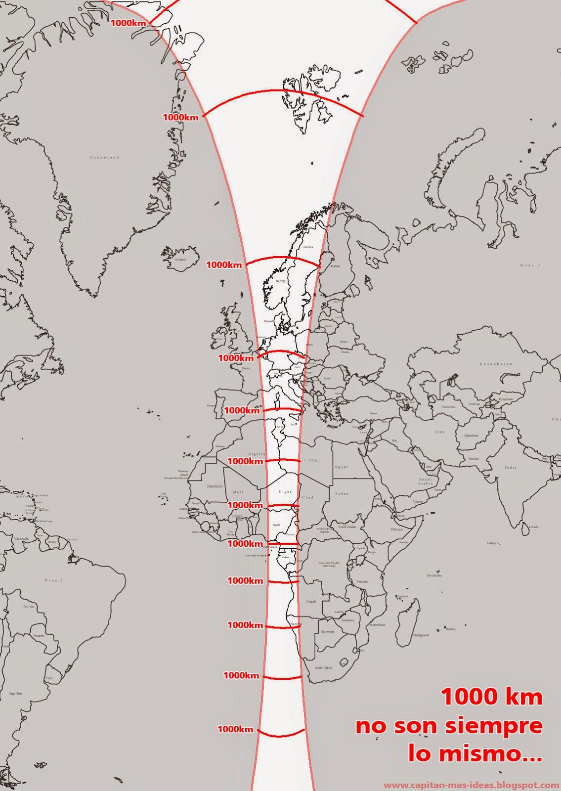 mapa de km 1.000 kilómetros en el mapa no son siempre lo mismo   Geografía  mapa de km