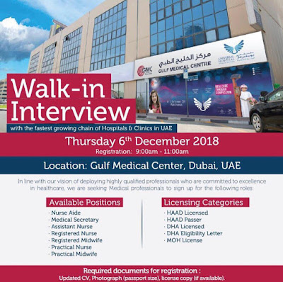 Walk In Interview for Nurses in Gulf Medical Center Dubai  2018