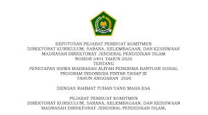 SK PIP Tahap III Tahun 2020 Jenjang MA Provinsi Jawa Timur [beserta lampiran]