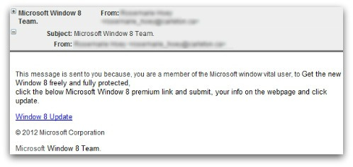 Phishing mail offering free version of Windows 8
