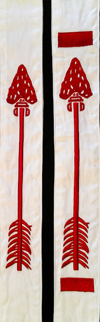 Photograph of an Ordeal and Brotherhood level Order of the Arrow sash insignia from the Boy Scouts of America