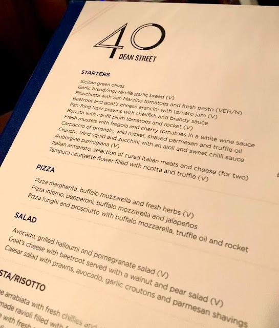 a la carte menu 40 dean street