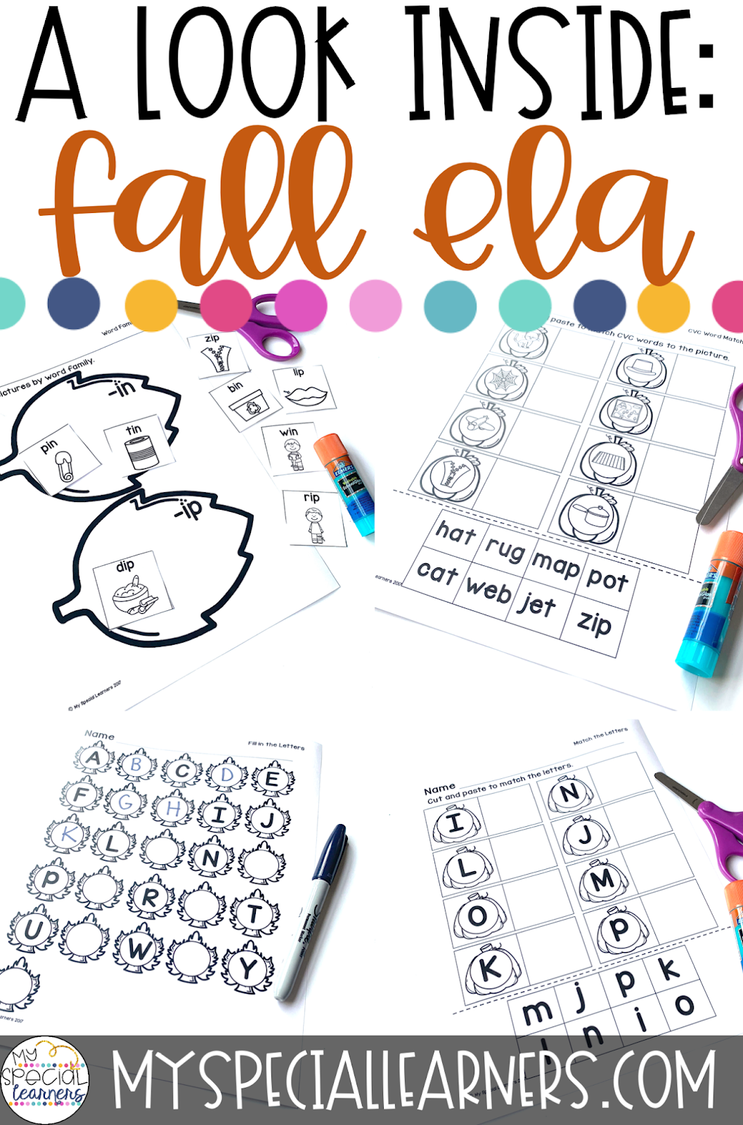 Differentiated Autumn Language Arts Worksheets For Special