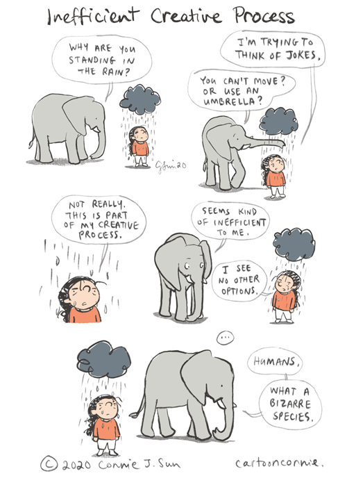 rainy day, cartoon, creative process, humor, elephant comic, illustration, connie sun, cartoonconnie