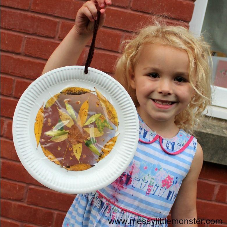 leaf suncatcher nature craft for kids