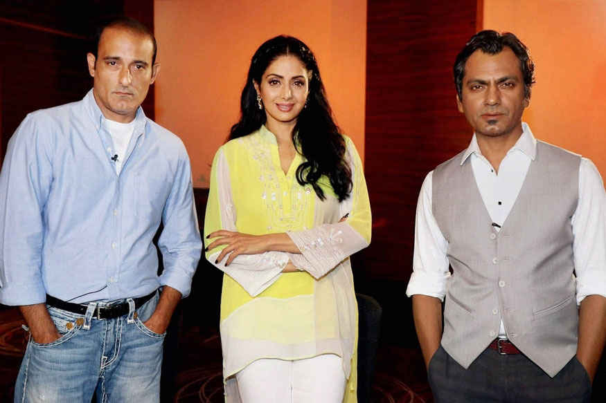 Nawazuddin, Sridevi and Akshaye Khanna During The Media Interaction of Film Mom