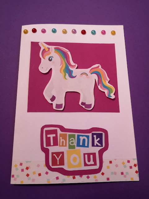 Rainbow unicorn thank you card