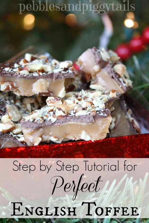 The ultimate holiday treat! Everyone's FAVORITE! This step-by-step tutorial for English toffee will show you how easy it is to make Perfect English Toffee (and without a candy thermometer too!)