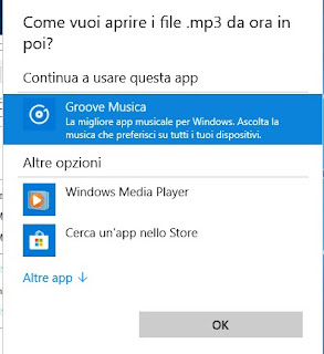 Scelta app predefinite su file Windows