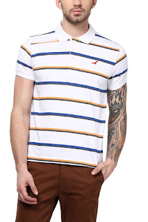American Crew Men's Polo Collar Stripes T-Shirt