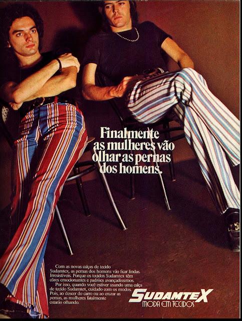Propaganda das Calças Sudamtex nos anos 70 com modelos masculinos.