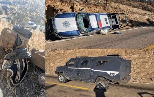 Sicarios en emboscada y escondidos perforan blindadas de Estatales, matan a 4 policías y dejan 7 heridos en Chihuahua