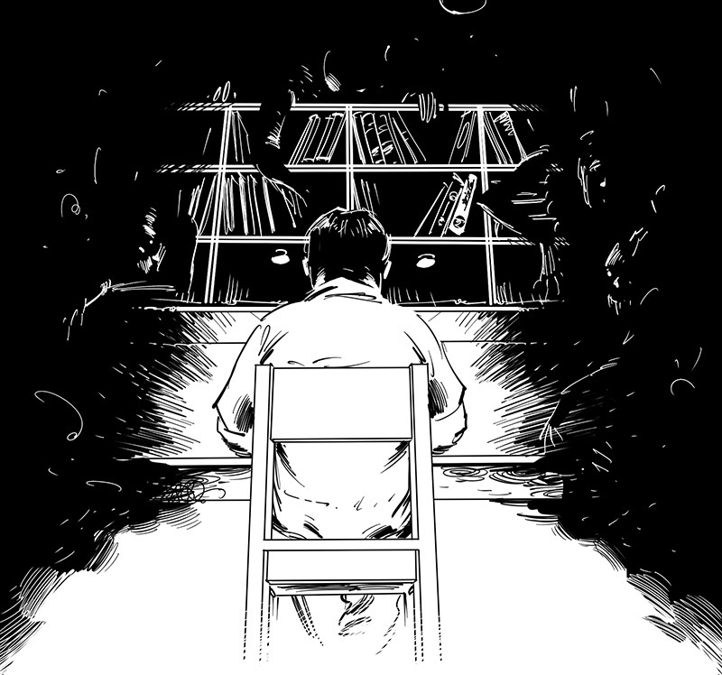 horror story writer black and white sketch illustration