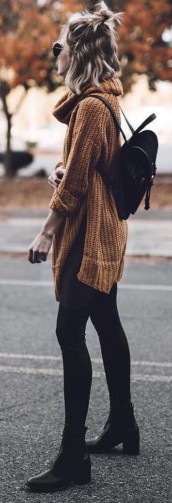 trendy fall outfit / brown knit sweater + bag + black skinnies + boots