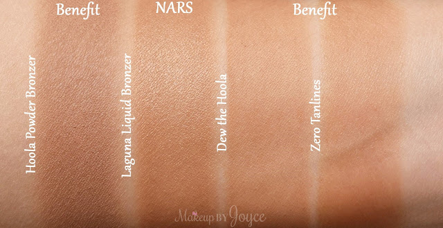 Benefit Zero Tanlines Allover Matte Body Bronzer vs Dew the Hoola Matte Liquid Bronzer Swatches