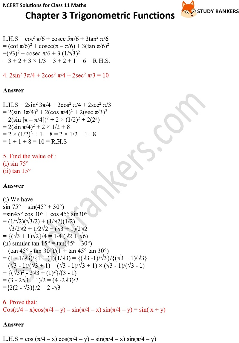 NCERT Solutions for Class 11 Maths Chapter 3 Trigonometric Functions 8