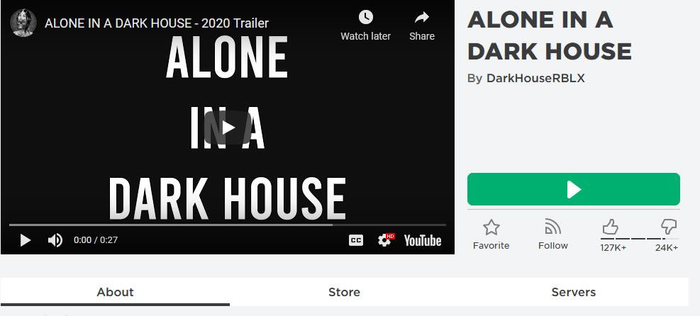 Alone in a dark house Roblox Game