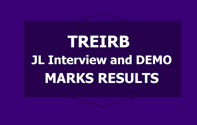 TREIRB JL Interview and Demonstration Marks Results 2019 (Junior Lecturers)