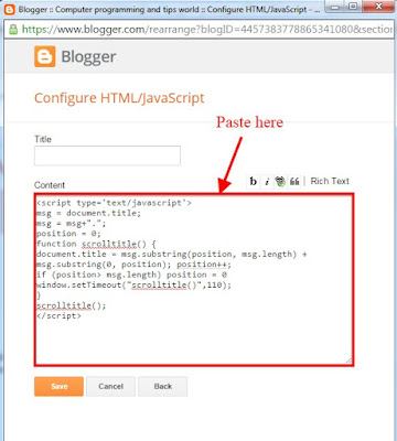 Paste the html-javascript code on blogger