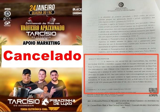 Ministério Público pede cancelamento de festas e eventos em Chapadinha.