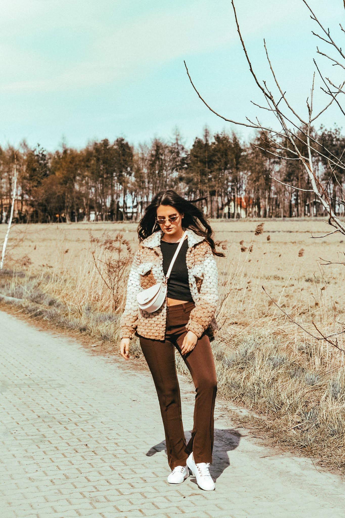 eleganckie brązowe spodnie damskie stylizacja