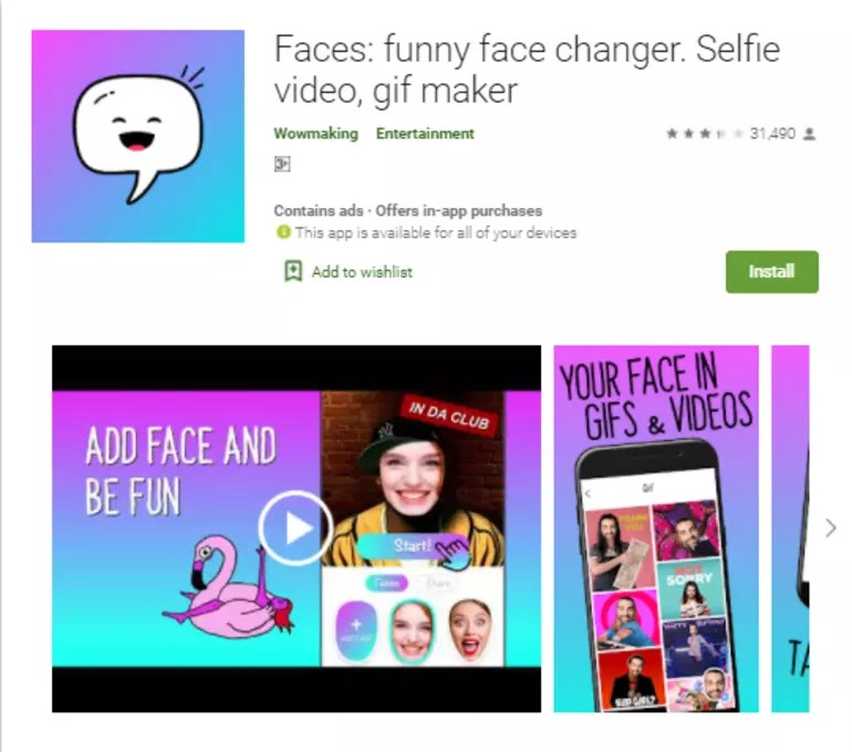 Faces - Funny Face Changer - GIF Video Photo Frames