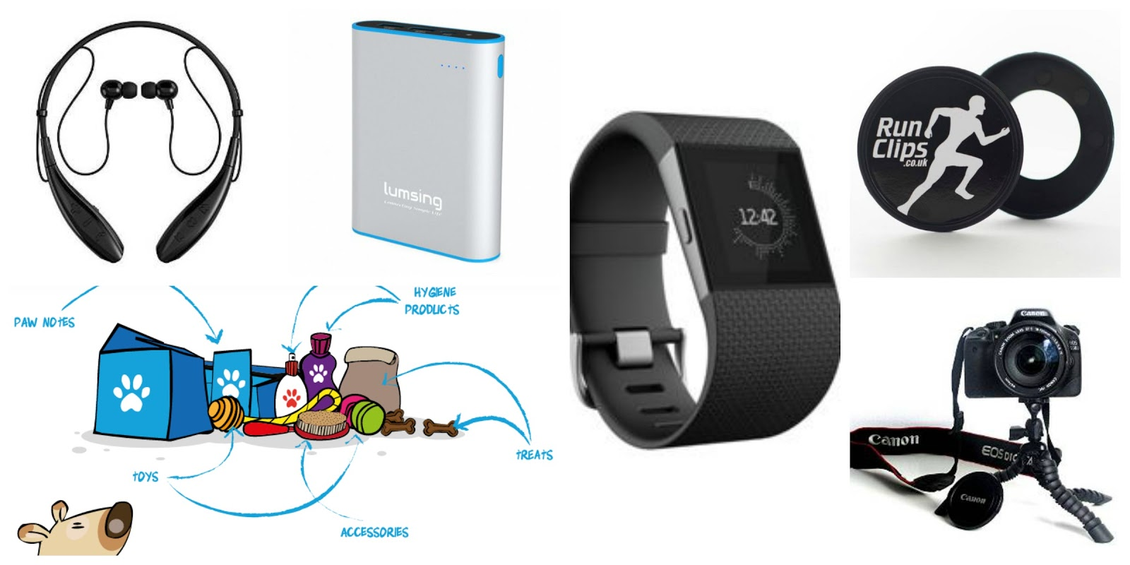 christmas, gift guide, unusual gifts, soundpeat, pawsome box, lumsing, powerbank, fitbit surge, runclips, tripod,