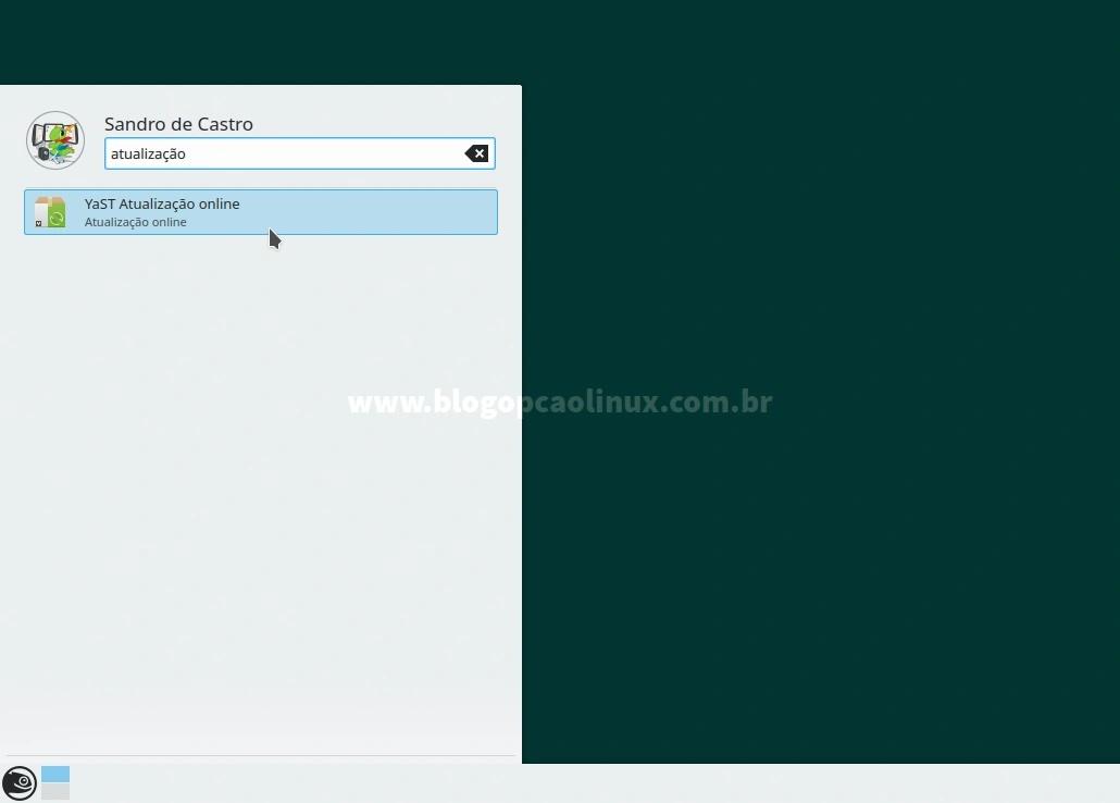 Pesquise por YaST Atualização Online no menu de aplicativos
