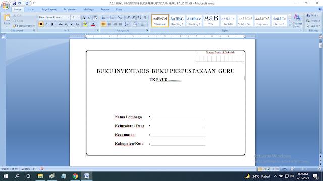 Download Buku Inventaris Buku Perpustakaan Guru / Pendidik Paud TK KB RA