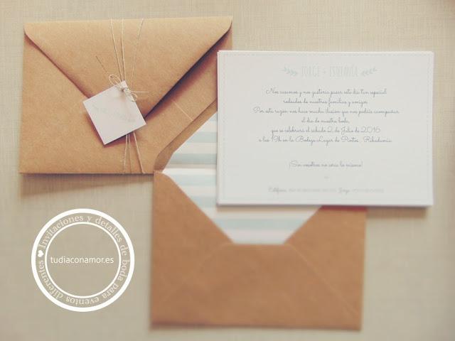 Invitaciones de boda modernas de estilo informal y sencillo