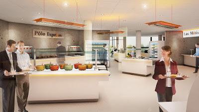 Perspective 3d restaurant d'entreprise distribution