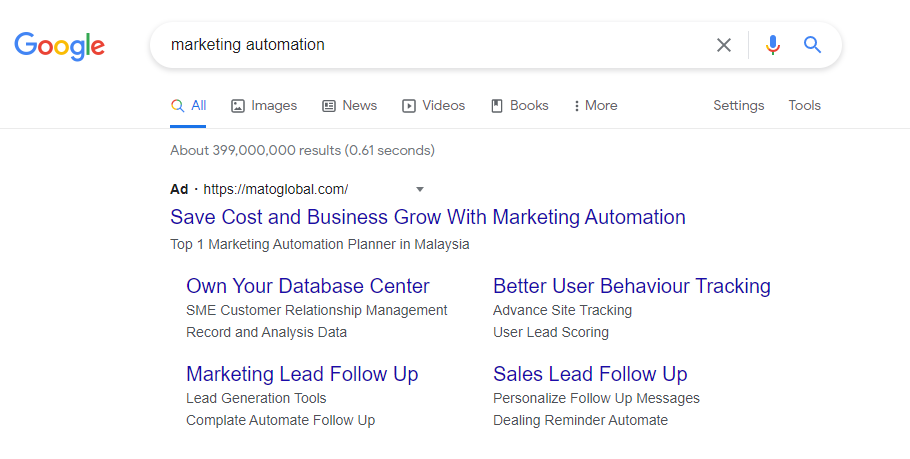Marketing Automation search engine result page