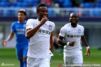 Mikel celebrates goal for Tianjin