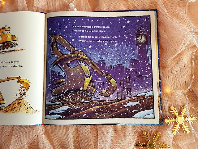 Wieczór gwiazdkowy na placu budowy - Idą święta. O Bożym Narodzeniu, Mikołaju i tradycjach świątecznch na świecie - Puzzle Pucio i Misia ubierają choinkę - Nasza Księgarnia - książeczki dla dzieci