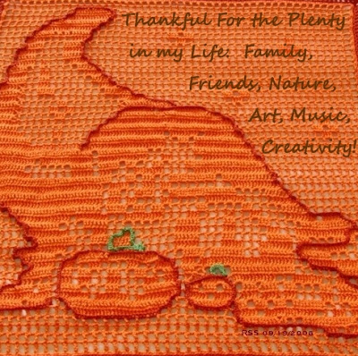 Cornucopia Art For Thanksgiving - Hand-Crocheted By Ruth Sandra Sperling of RSS Designs In Fiber - Email For Custom Order
