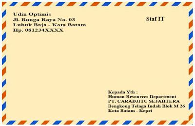 Cara penulisan amplop surat lamaran kerja yang benar