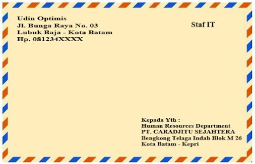 Cara Menulis Alamat Surat Lamaran Di Amplop Coklat Bagi Contoh Surat