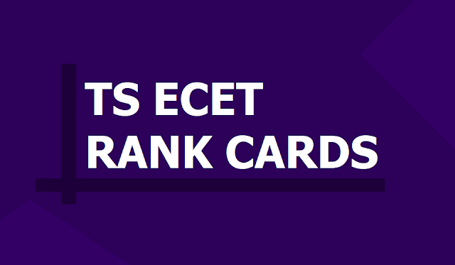 TS ECET Rank Cards 2019 download from 'ecet.tsche.ac.in' Website