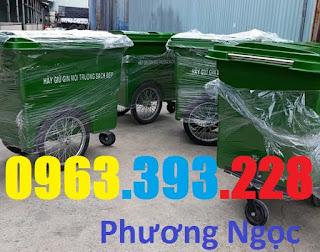 Xe gom rác nhựa 660 Lít, xe gom rác 3 bánh, xe gom rác 660L 3 bánh hơi XR660L3B3