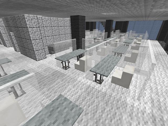 Kantoortuin in wit met perspex, gebouwd in Minecraft