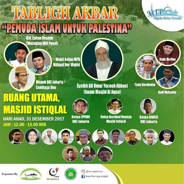 Imam Masjid Al Aqsa dan Sandi Uno Hadiri Tabligh Akbar Peduli Palestina