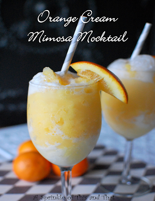 Orange Cream Mimosa Mocktail, shared by A Sprinkle of This and That