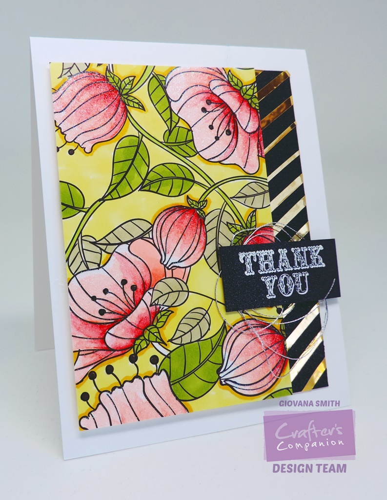 Card 2 The Coloring Panel Was Put On Top Of A Yellow Pearl Shimmering Cardstock About 1 4 Bigger Each Side Sentiment Stamped Piece Black
