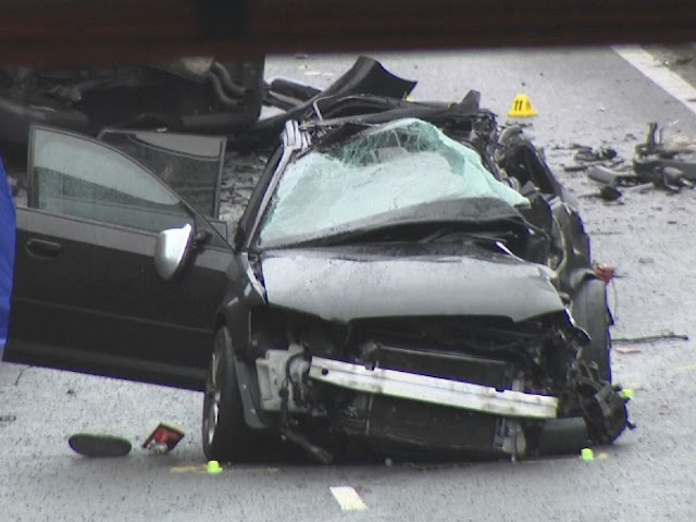 One of the cars involved in the fatal crash