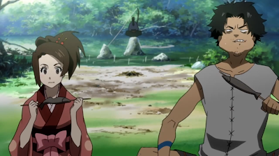 A comedy scene from the anime Samurai Champloo