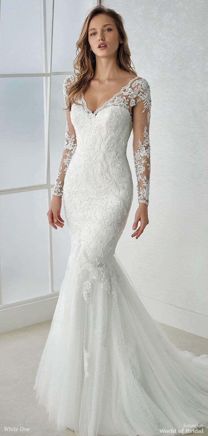 White One 2018 Long Sleeve Mermaid Wedding Dress