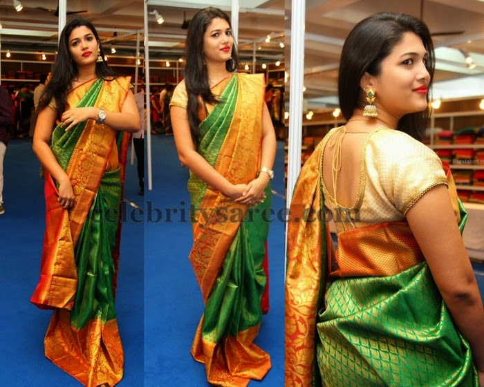 13497b396bd21 Priya Reddy Green Silk Saree - Saree Blouse Patterns