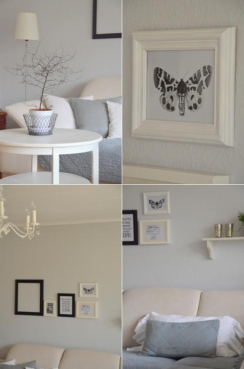 home romantik neue bilderwand in schwarz wei. Black Bedroom Furniture Sets. Home Design Ideas